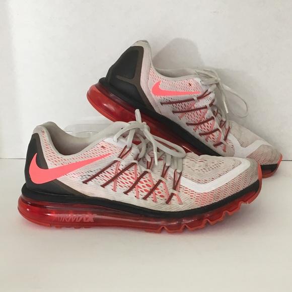 Nike Air Max Mens White Crimson Running Shoes 11.5